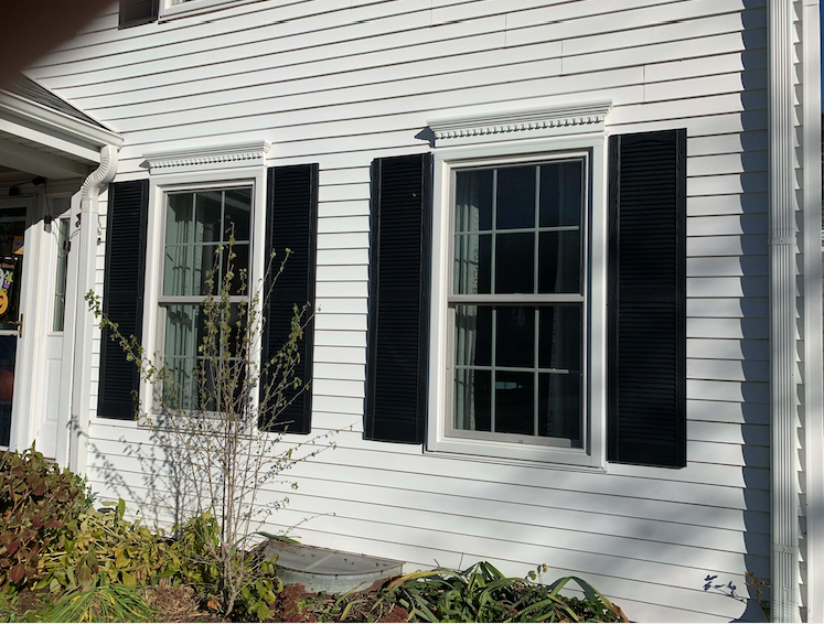 Closeup of new shutters installed